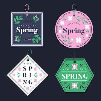 Distintivi di forme geometriche stagione primaverile