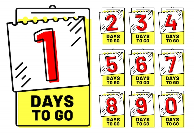 Distintivi di giorni rimanenti, badge per il conto alla rovescia, numero di giorni rimanenti e set di timestamp valido