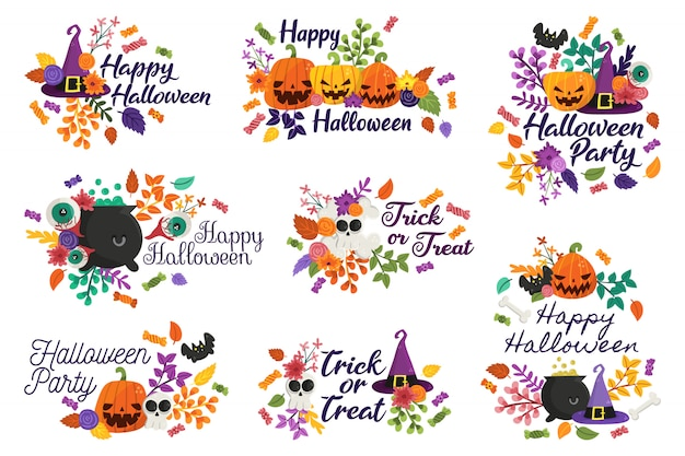 Distintivi di happy halloween e dolcetto o scherzetto