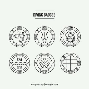 Distintivi di immersione subacquea piatto