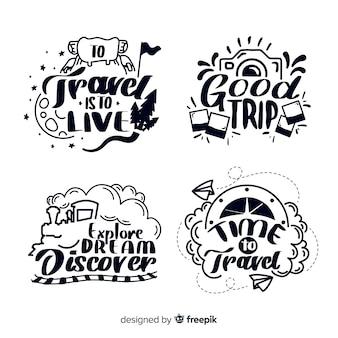 Distintivi di lettering viaggio disegnato a mano