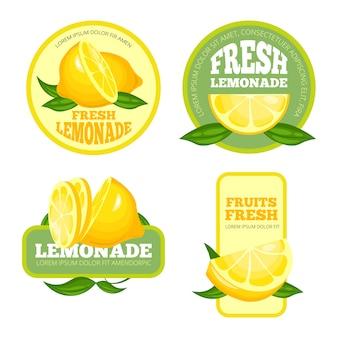 Distintivi di limonata. succo di limone o sciroppo di frutta etichette o logo di limonata