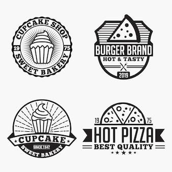 Distintivi di loghi di pizza cupcake