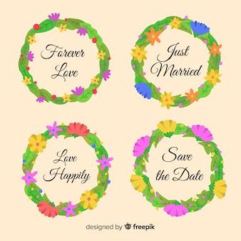 Distintivi di matrimonio floreale disegnato a mano