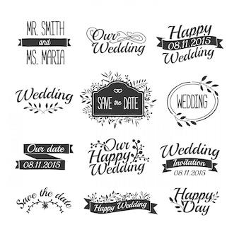 Distintivi di nozze disegnati a mano