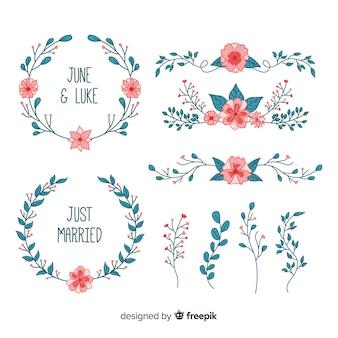 Distintivi di nozze floreali disegnati a mano