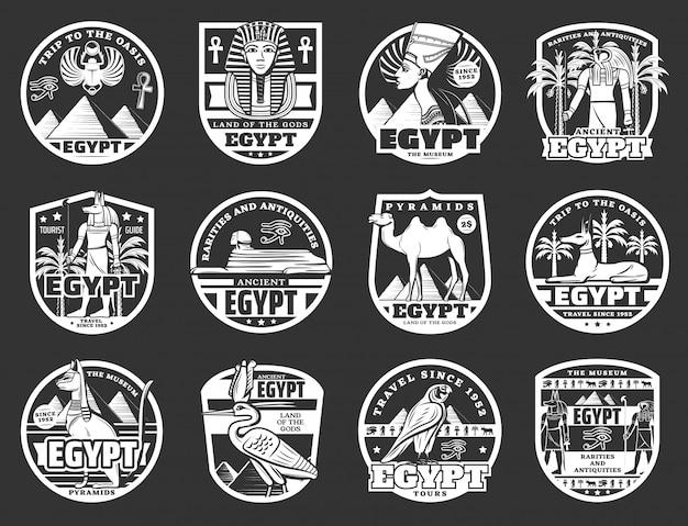 Distintivi di piramidi del faraone egiziano antico, sfinge e dei