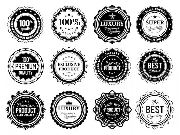 Distintivi di qualità premium. emblema della migliore scelta, etichette vintage e bundle vettoriale di badge stencil retrò