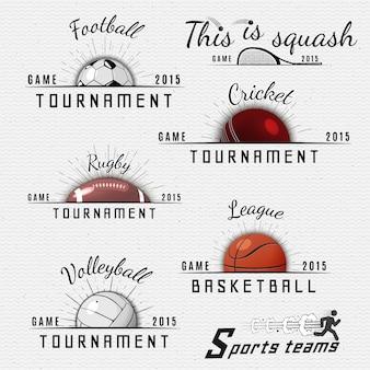 Distintivi di squadre sportive loghi ed etichette possono essere utilizzati per design, presentazioni, brochure, volantini, attrezzature sportive, identità aziendale, vendite