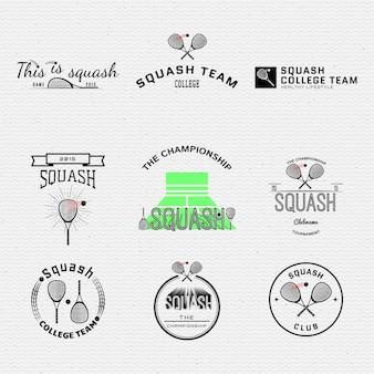 Distintivi di squash i loghi e le etichette possono essere utilizzati per la progettazione