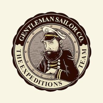 Distintivi di uomo marinaio barbuto retrò vintage con colore classico