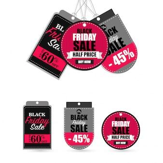 Distintivi di vendita colorati e set di tag.