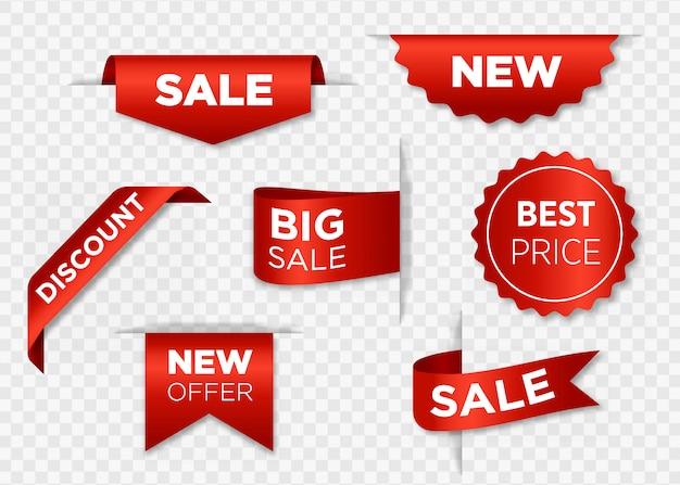 Distintivi di vendita del nastro, insegne, prezzi da pagare, raccolta di nuove offerte nell'illustrazione rossa