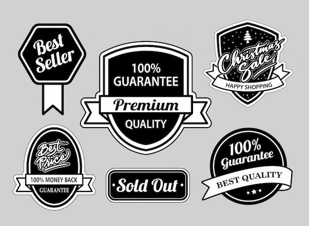 Distintivi di vendita di natale e best-seller in bianco e nero