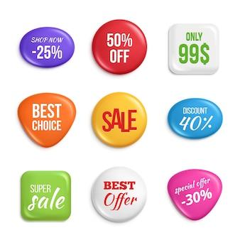 Distintivi di vendita. etichette migliori offerte e vendite