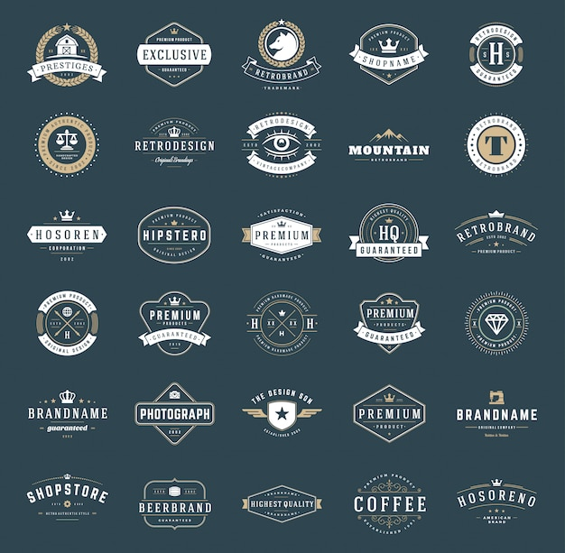 Distintivi e logotipi vintage retrò impostato tipografico