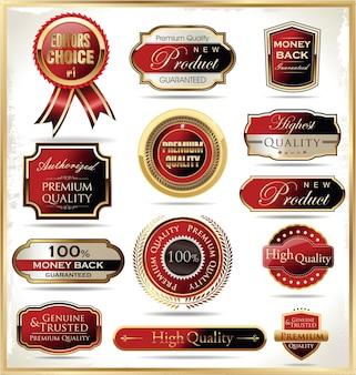 Distintivi ed etichette d'epoca retrò d'oro