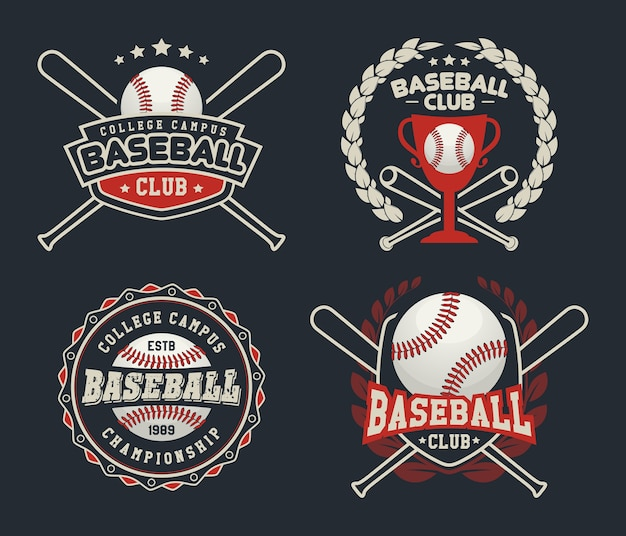 Distintivi ed etichette di baseball, logo design sportivo