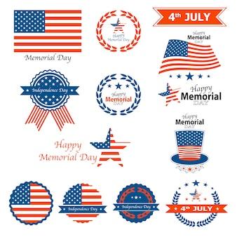 Distintivi ed etichette happy memorial day del 4 luglio