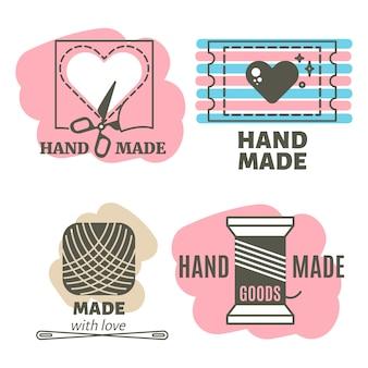 Distintivi fatti a mano, distintivi di lavoro manuale, etichette hipster vintage
