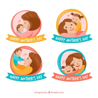 Distintivi felici della festa della mamma