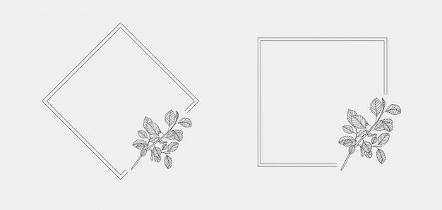 Distintivi floreali floreali disegnati a mano minimi