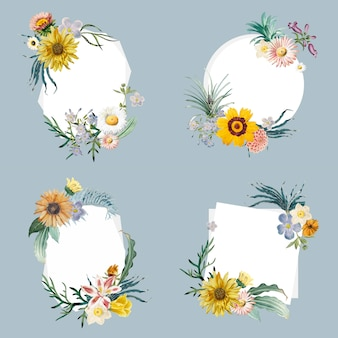 Distintivi incorniciati a fiori
