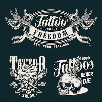 Distintivi monocromatici di studio tatuaggio vintage