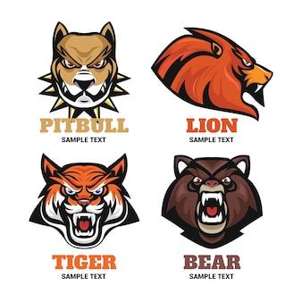 Distintivi per animali per la raccolta di team di logo sportivi