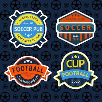 Distintivi set coppa di calcio, etichetta pub calcio