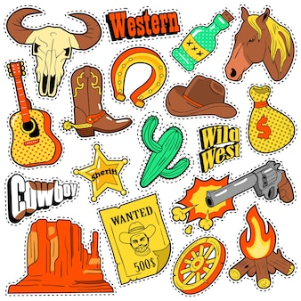 Distintivi, toppe, adesivi occidentali del selvaggio west texas con cowboy, cavallo, pistola e sceriffo. scarabocchio