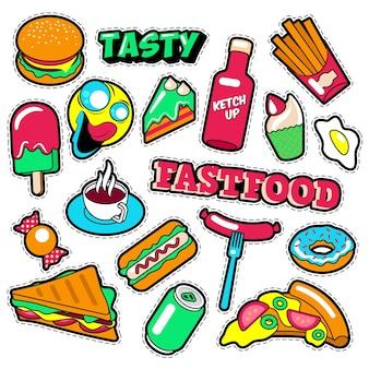 Distintivi, toppe, adesivi per fast food - burger fries hot dog pizza ciambella cibo spazzatura in stile fumetto. scarabocchio