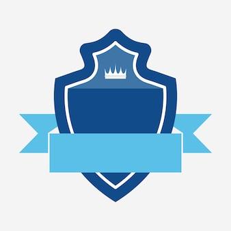 Distintivo blu impreziosito da un banner