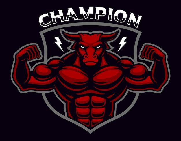Distintivo colorato di un bodybuilder di toro sullo sfondo scuro. a strati, il testo si trova su un livello separato.