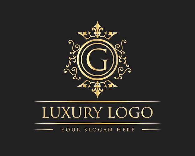 Distintivo con logo antico di lusso royal vintage, lettera g