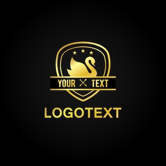 Distintivo d'oro badge swan star premium luxury icon logo