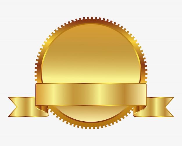 Distintivo d'oro bianco con nastro