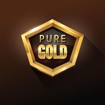 Distintivo d'oro lucido di forma esagonale