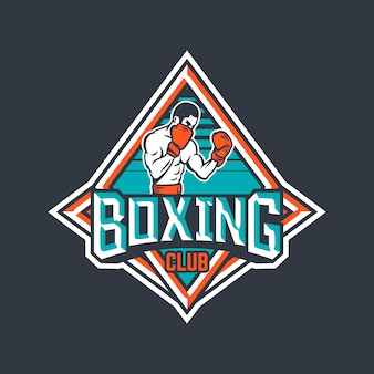 Distintivo del club di boxe con illustrazione di pugile