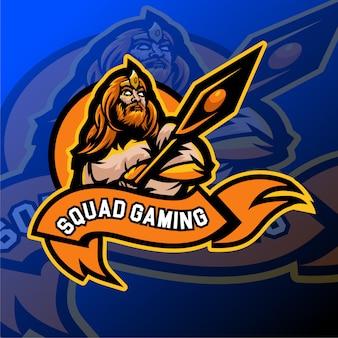 Distintivo del logo sportivo e di gioco barbaro viking