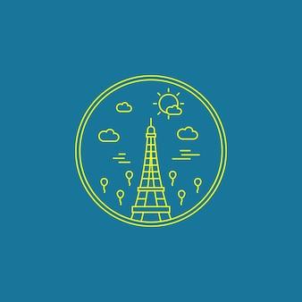 Distintivo del punto di riferimento della città di arte della linea di monoline della torre eiffel di parigi francia