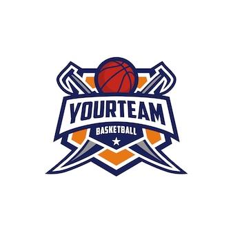 Distintivo dell'emblema del pallacanestro club logo design con spada