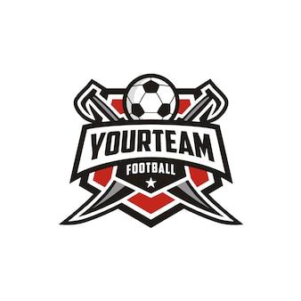 Distintivo dell'emblema di calcio soccer club logo design con spada