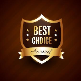 Distintivo dell'etichetta del premio dorato di scelta migliore