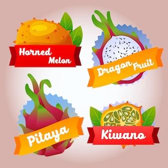 Distintivo della frutta kiwano pitaya della raccolta
