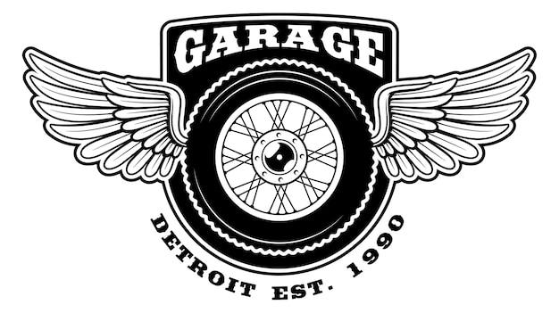 Distintivo della motocicletta con ali su sfondo bianco. il testo è nel gruppo separato.