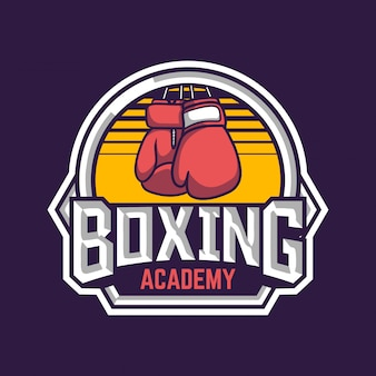 Distintivo di accademia retrò di boxe con illustrazione di pugile