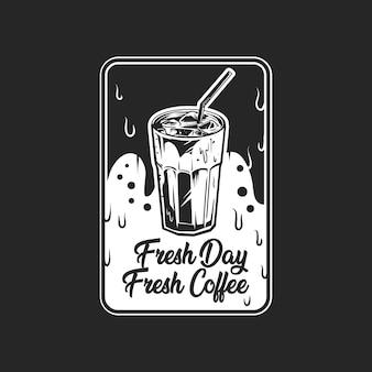 Distintivo di caffè freddo b & w