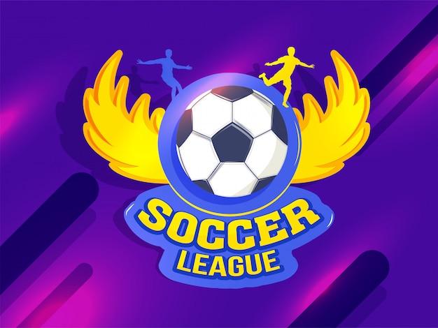 Distintivo di calcio con la siluetta dei giocatori su backg porpora astratto