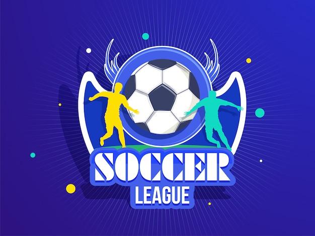 Distintivo di calcio stile adesivo con silhouette di giocatori di calcio f